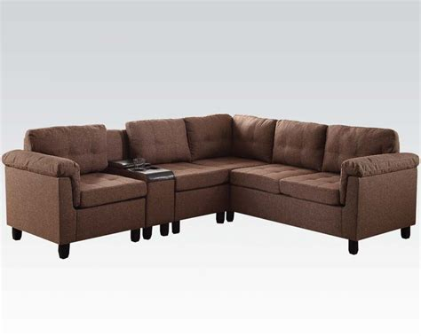 acme sectional acme furniture brown sectional sofa cleavon ac51530