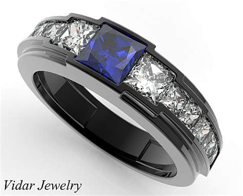 black gold blue sapphire wedding ring for a vidar