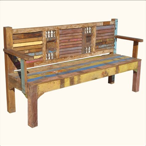 colored benches appalachian rustic reclaimed old wood multi color outdoor