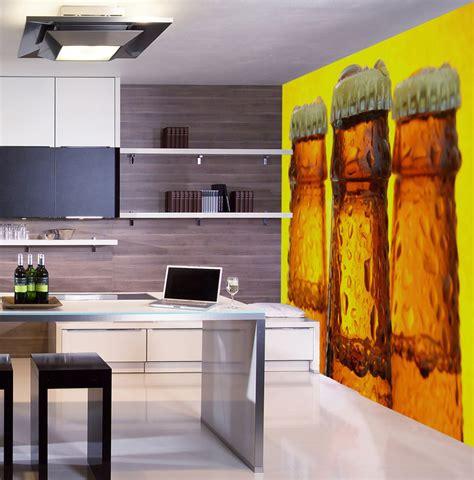 cocina con cerveza foto cocina con fotomural de botellas de cerveza de marta