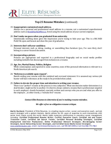 top 25 resume mistakes