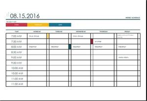 Schedule Template In Excel by Weekly Schedule Template Excel Eskindria