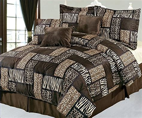 safari comforter set 7 piece queen safari brown patchwork micro suede comforter set