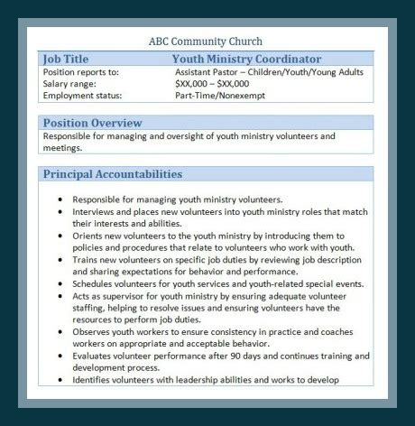 Sle Church Employee Job Descriptions Church Volunteer Description Template