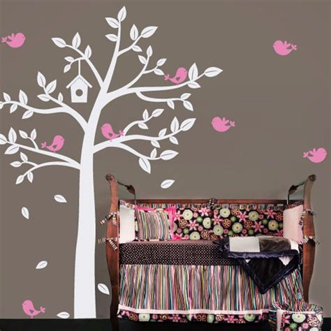 baby bedroom wall art 2016 new huge white tree and cute birds decals baby