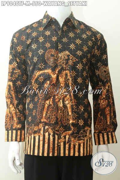 hem batik modis elegan desain motif wayang keren trend