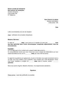 Exemple De Lettre De Motivation Mutation exemple gratuit de lettre notification mutation disciplinaire salari 233