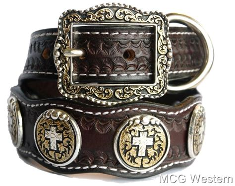 western collars western cross genuine leather collar w conchos