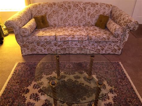 vintage  tapestry style sofa couch glass coffee table living room furniture ebay