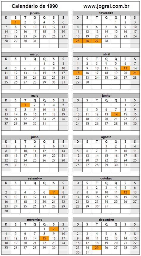 Calendario Ano 1990 Calend 225 Ano 1990 Para Imprimir Em Formato Pdf E Imagem