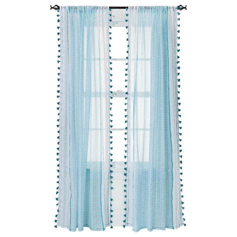 turquoise curtains target xhilaration 174 tasseled print sheer curtain panel