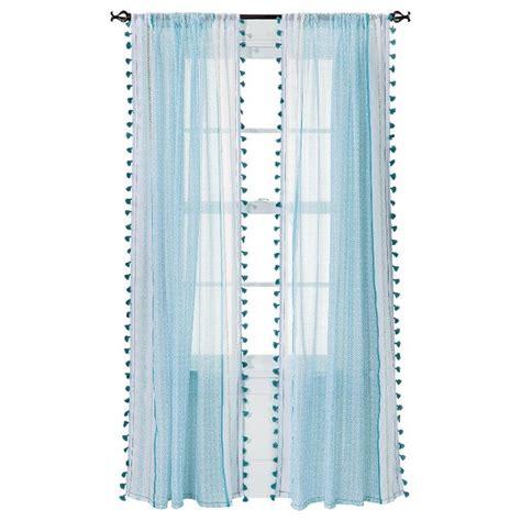 Turquoise Sheer Curtains Xhilaration 174 Tasseled Print Sheer Curtain Panel Turquoise 50x84 Quot