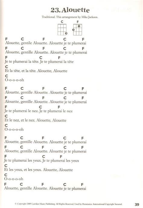 song ukulele 17 best ideas about alouette song on tom and