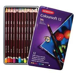 derwent colored pencils derwent coloursoft 12 soft colour pencils in a tin color