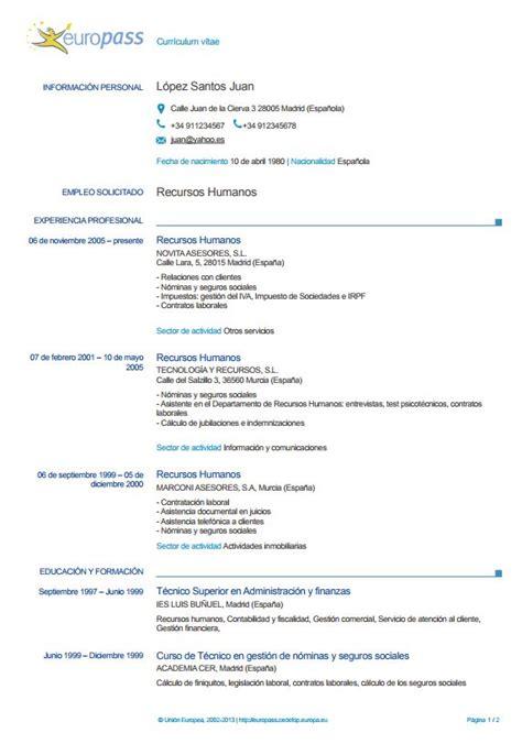 el europass cv qu 233 es ejemplos e instrucciones