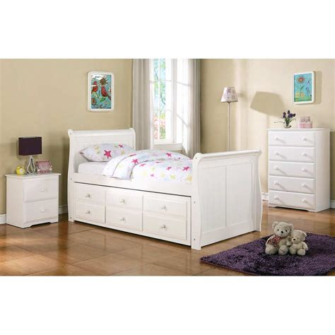 twin size sleigh bed hattie twin size sleigh bed trundle drawers white finish dcg stores