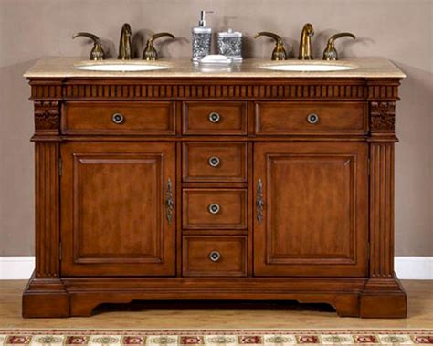 silkroad 55 quot double bathroom vanity travertine top
