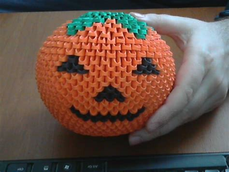 3d Origami Pumpkin - how to make 3d origami pumpkin model2
