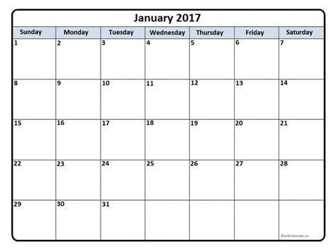 January 2017 Calendar January 2017 Calendar Printable Blank Calendar Template 2017