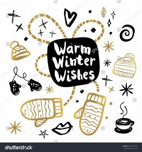 warm winter wishes happy new year stock vector 751639186