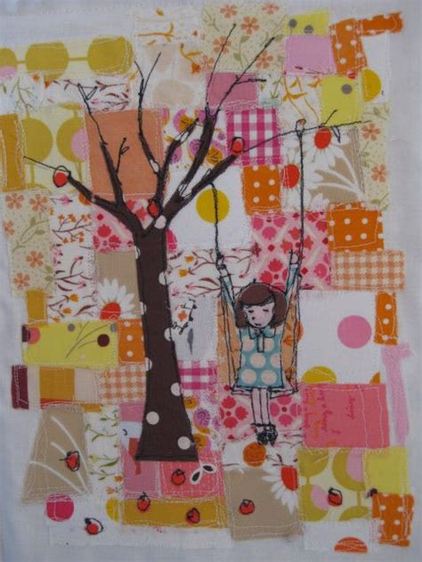 quilting applique tutorial girl on a tree swing mini quilt tutorial using raw edge