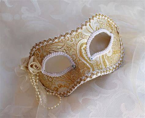 Handmade Artists Shop - gold and white metallic brocade masquerade mask with