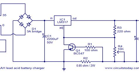lm317 lead acid battery charger circuit 24v lead acid battery charger electronic circuit schematic