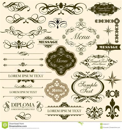 design elements set calligraphic decorative design elements set stock vector
