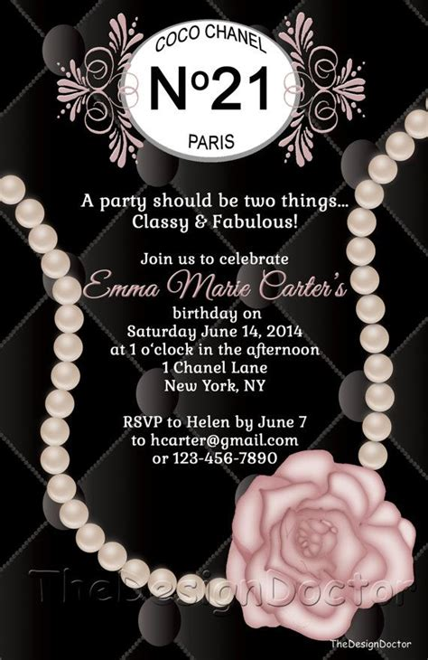 Custom Hand Drawn Classy And Fabulous Coco Chanel Inspired Birthday Party Invitation Printable Chanel Invitation Template