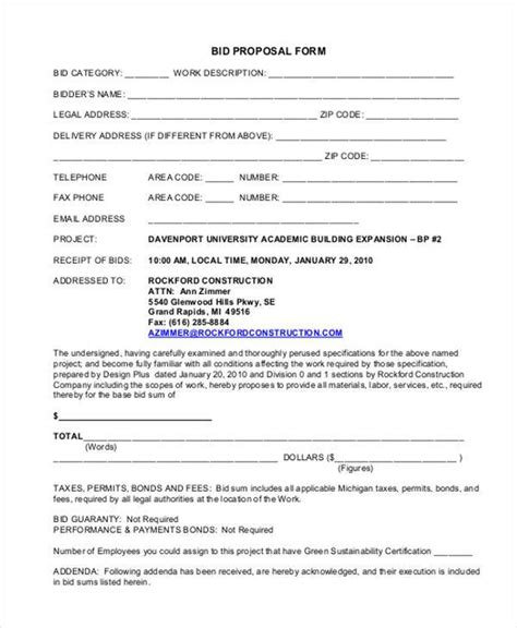 7 generic proposal form sles free sle exle