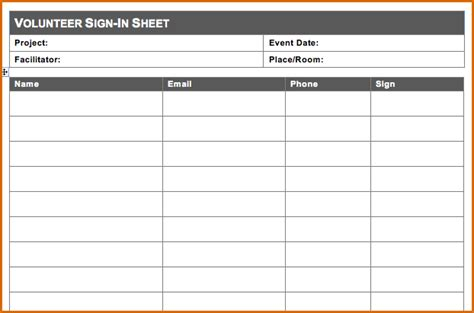10 volunteer sign up sheet template
