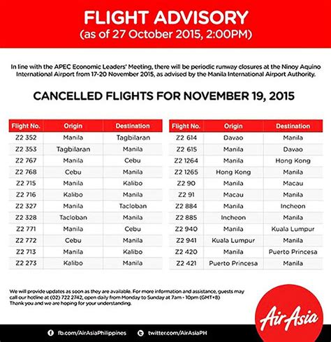 current events in the philippines from november 2015 cancelled flights due to apec meetings in november