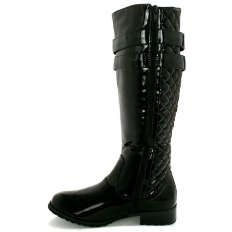 valiant flat quilted knee high boots black patent