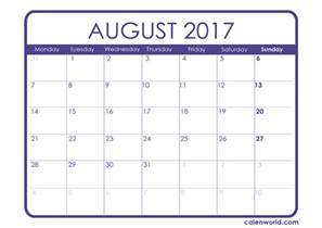 Kalender 2017 August August 2017 Calendar Printable Calendars