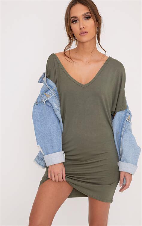 V Neck Shirt Dress t shirt dress oversized slogan dresses