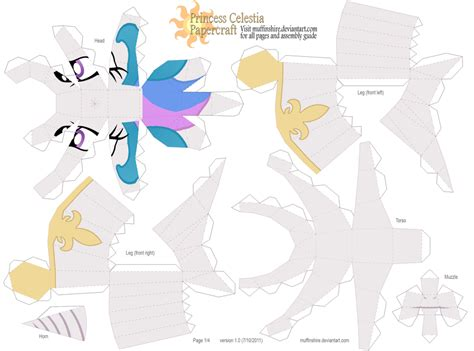 Princess Papercraft - princess celestia pattern 1of4 by muffinshire on deviantart