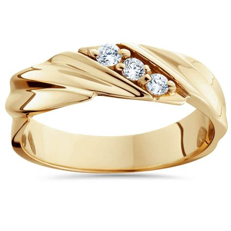 ct diamond  yellow gold mens wedding ring ebay