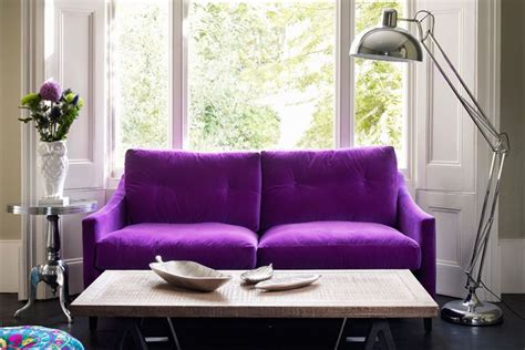 Living Room With Purple Sofa Couches That Pop In The Most Traditional Spaces