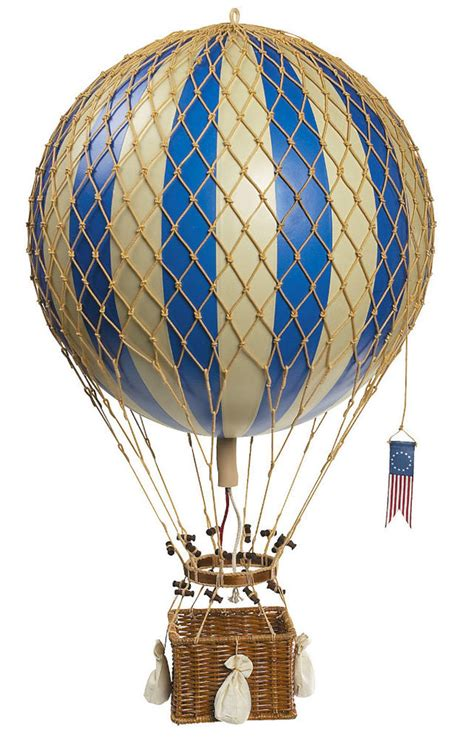 blue white striped air balloon model hanging