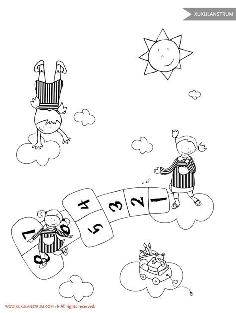 dibujos de niños jugando rayuela dibujo rayuela xuxulanstrum para colorear dibujos para