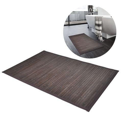 tappetini da bagno 2 tappetini da bagno in bamboo 40 x 50 cm marrone scuro