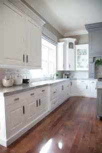 Gray Kitchen With White Cabinets by Gray And White Kitchen Design Transitional Kitchen