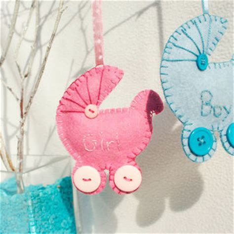 Handmade Baby Ornaments - personalized wool felt pram baby or from pretty felt
