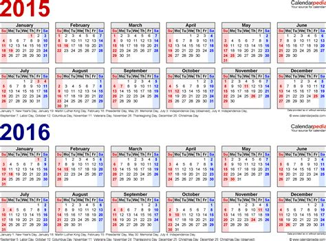 2015 And 2016 Calendars 2015 2016 Calendar Free Printable Two Year Word Calendars