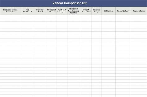 vendor comparison template vendor comparison list