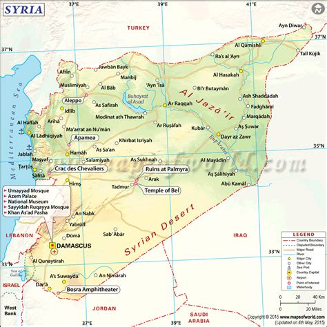 Syria Syari List where is syria located location map of syria on a world map