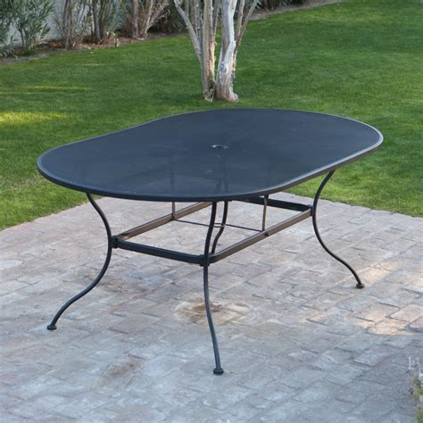 72 outdoor dining table woodard stanton 42 x 72 in oval wrought iron patio dining