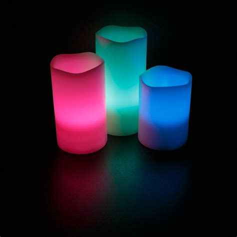 Color Changing Led Candle With Remote Set Of 3 Pcs led flameless ivory candles set of 3 4 quot 5 quot 6 quot color