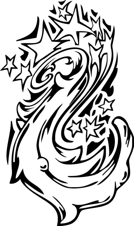 coloring sheet of a star galaxy tattoo swirl design