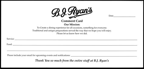 restaurant comment card template restaurant customer comment card template